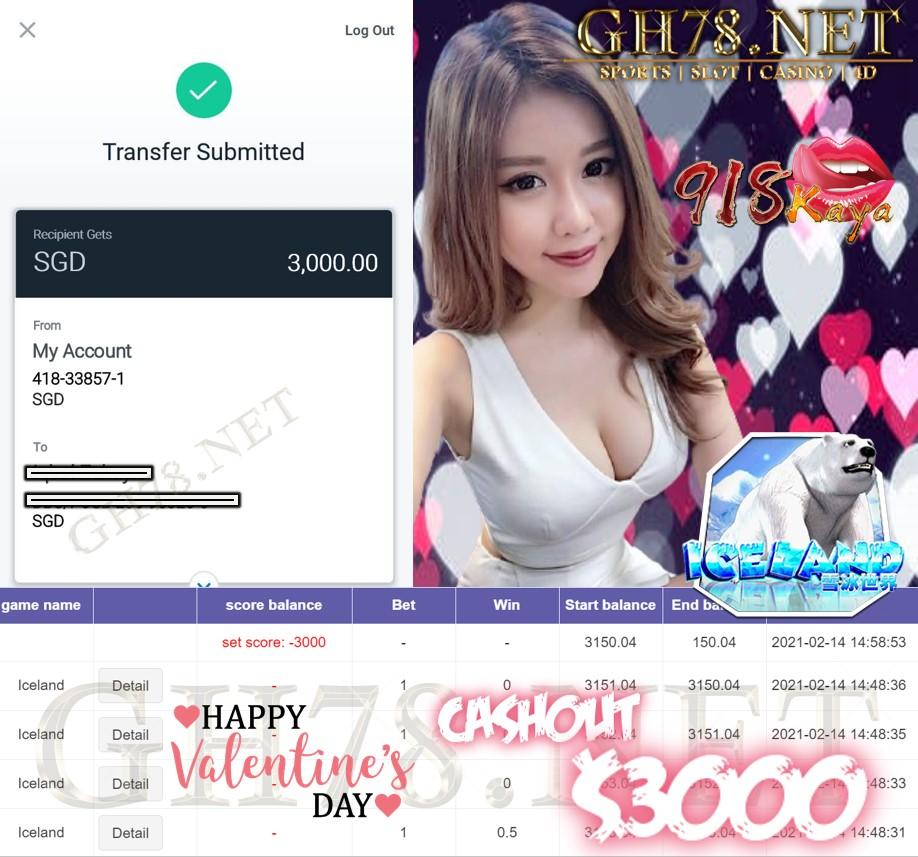 918KAYA ICELAND GAME CASHOUT $S3000