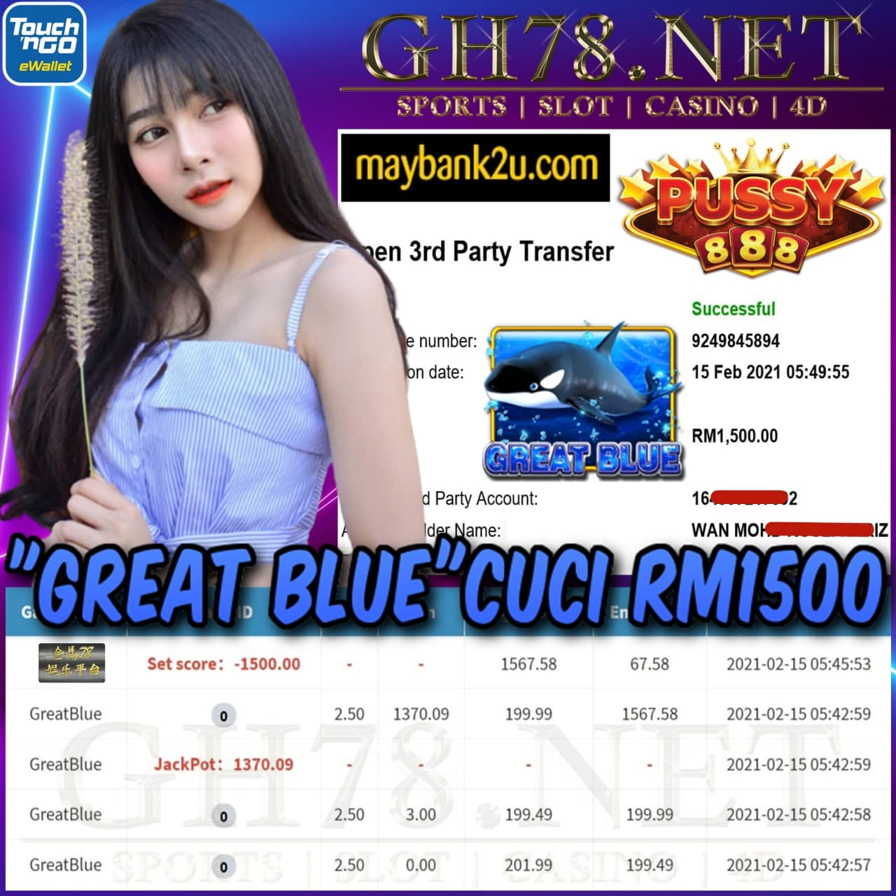 PUSSY888 GREAT BLUE GAME CUCI RM1500