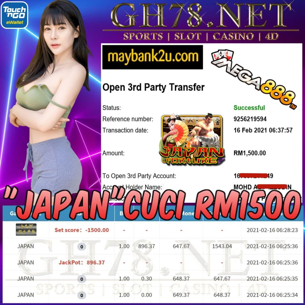 MEGA888 JAPAN GAME CUCI JACKPOT RM1500