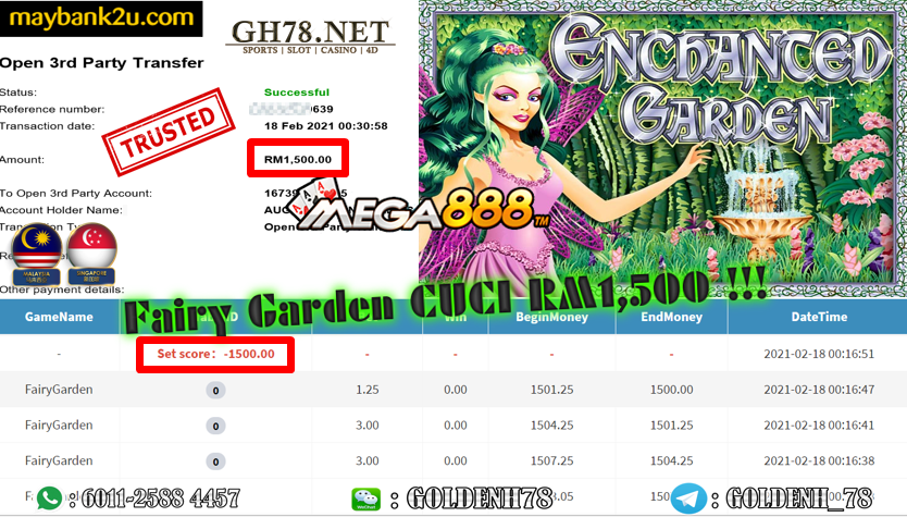 FAIRY GARDEN GAME CASHOUT RM1500 JOIN NOW WITH US AT GH78.NET !!