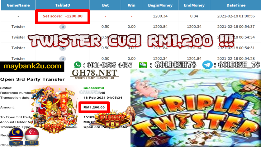 PUSSY888 TRIPLE TWISTER GAME CASHOUT RM1200 JOIN NOW WITH US AT GH78.NET !