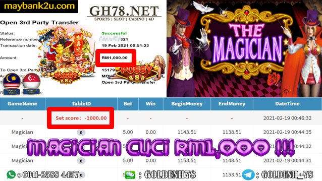 PUSSY888 MAGICIAN GAME CUCI RM1000