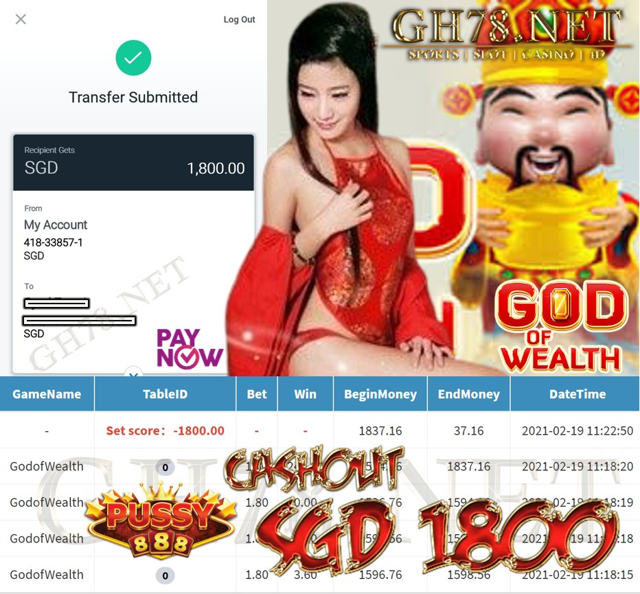 PUSSY888 GOD OF WEALTH GAME CASHOUT $S1800