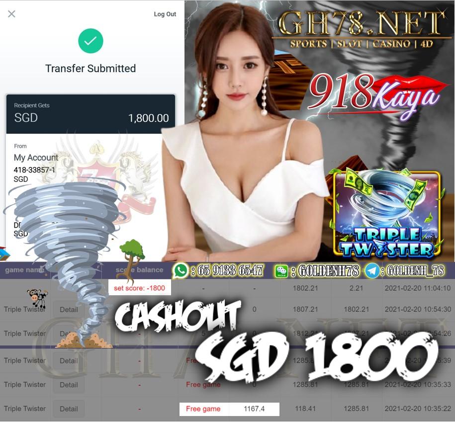 918KAYA TRIPLE TWISTER GAME CASHOUT $S1800