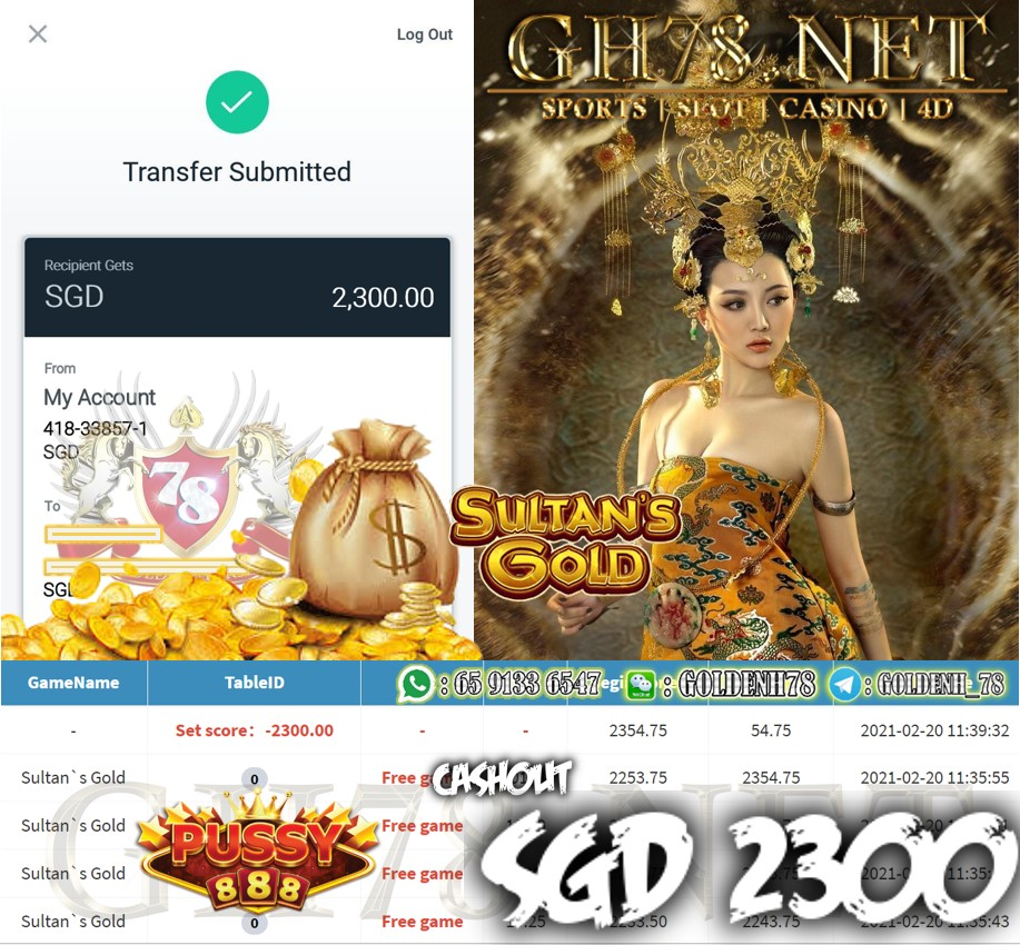 PUSSY888 SULTAN'S GOLD GAME CASHOUT $S2300