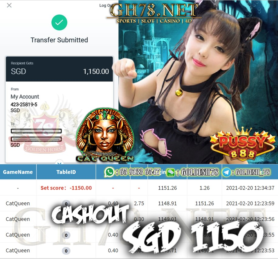 PUSSY888 CAT QUEEN GAME CASHOUT $S1150