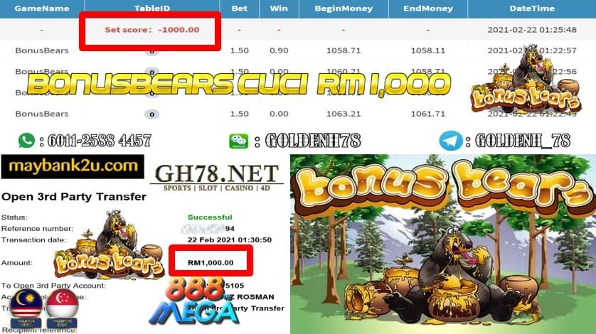 MEGA888 BONUS BEAR WASH BONUS AND CASHOUT RM1000