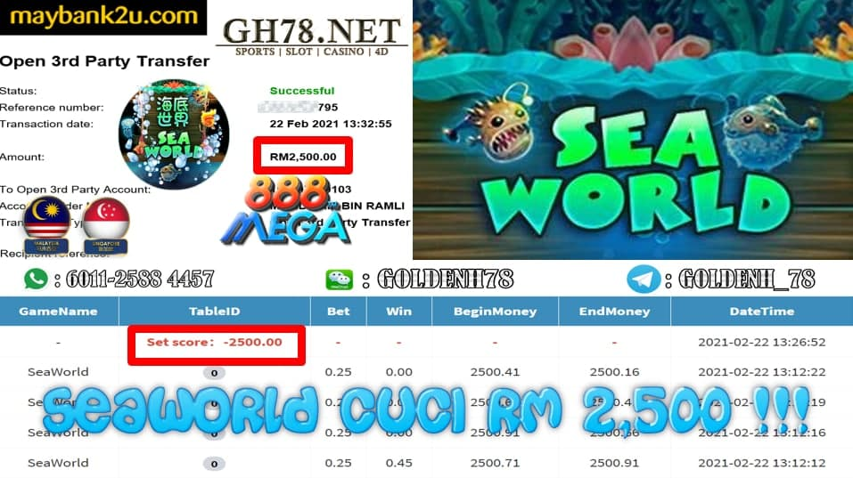 MEGA888 SEA WORLD GAME CUCI RM2500