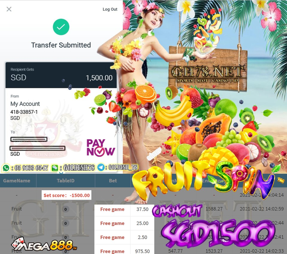 PUSSY888 FRUIT GAME CASHOUT $S1500