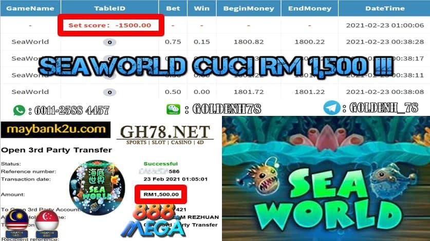 MEGA888 SEA WORLD GAME CUCI RM1500