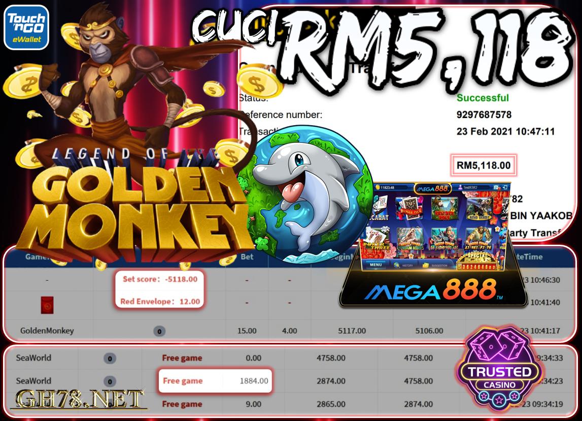 MEGA888 GOLDEN MONKEY CUCI RM5118