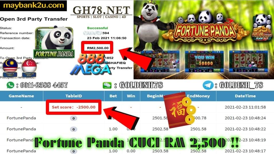 MEGA888 FORTUNE PANDA GAME CUCI RM2500