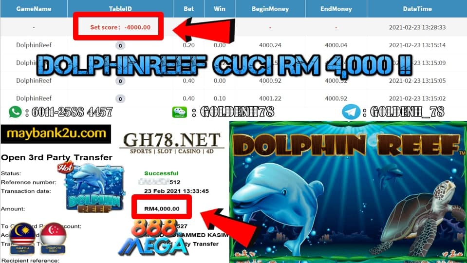 MEGA888 DOLPHIN REEF GAME CUCI RM4000