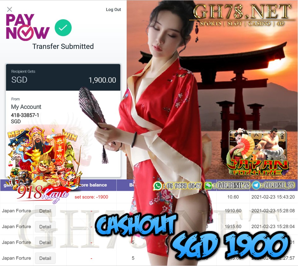 918KAYA JAPAN GAME CASHOUT $S1900