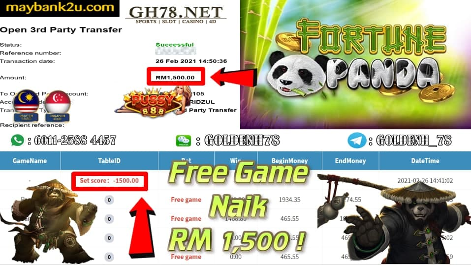 PUSSY888 PANDA FORTUNE GAME CASHOUT RM1500 JOIN NOW WITH US AT GH78.NET !!