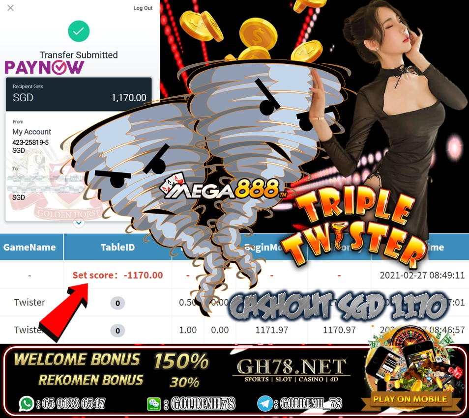 MEGA888 TRIPLE TWISTER GAME CASHOUT SGD1170 JOIN NOW WITH US AT GH78.NET !!