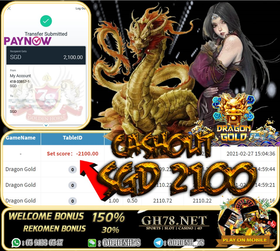 PUSSY888 DRAGON GOLD GAME CASHOUT SGD2100 JOIN NOW WITH US AT GH78.NET !!