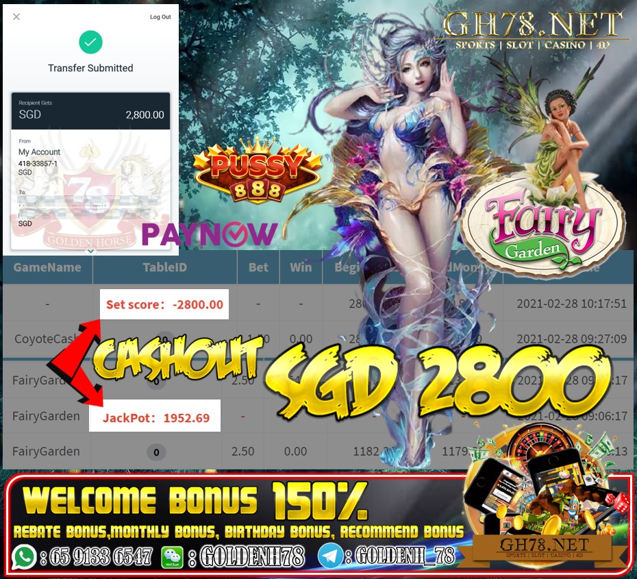 PUSSY888 FAIRY GARDEN GAME CASHOUT SGD 2800