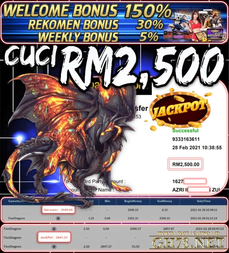 PUSSY888 FIVE DRAGONS GAME CUCI JACKPOT RM2500