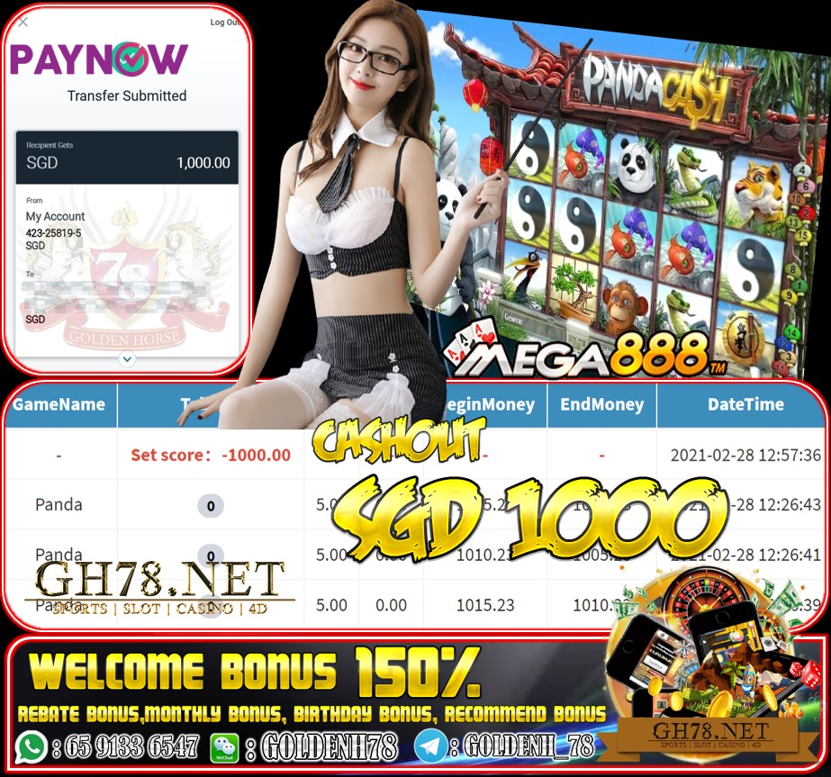 MEGA888 PANDA GAME CASHOUT SGD1000