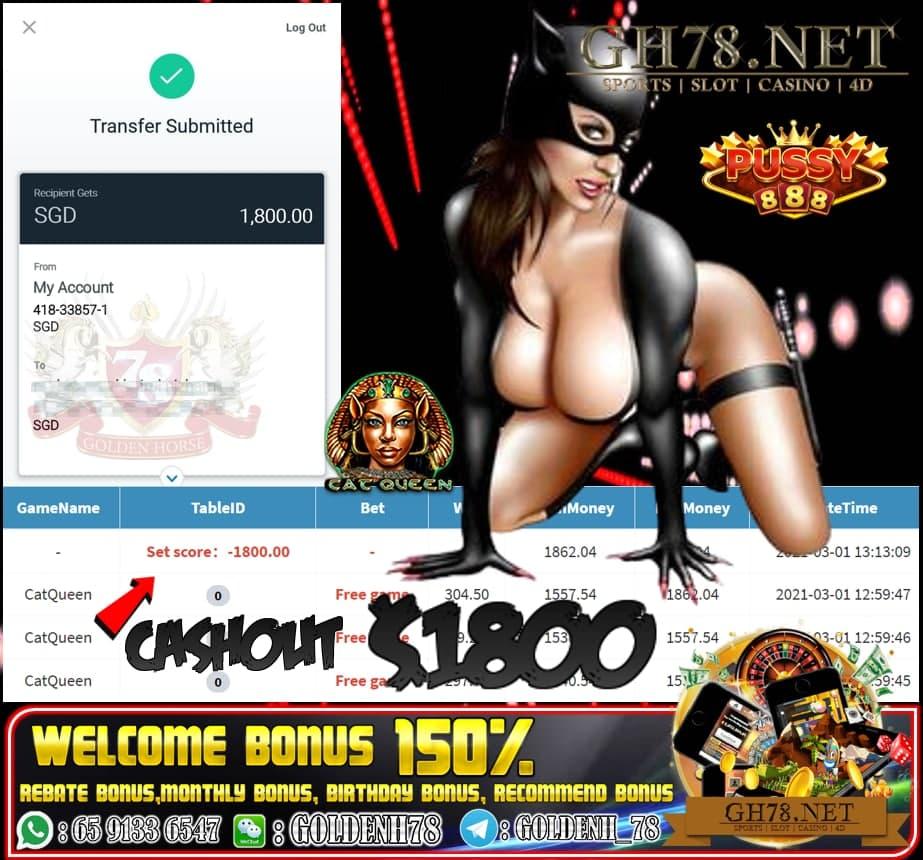 MEGA888 CAT QUEEN GAME CASHOUT SGD1800