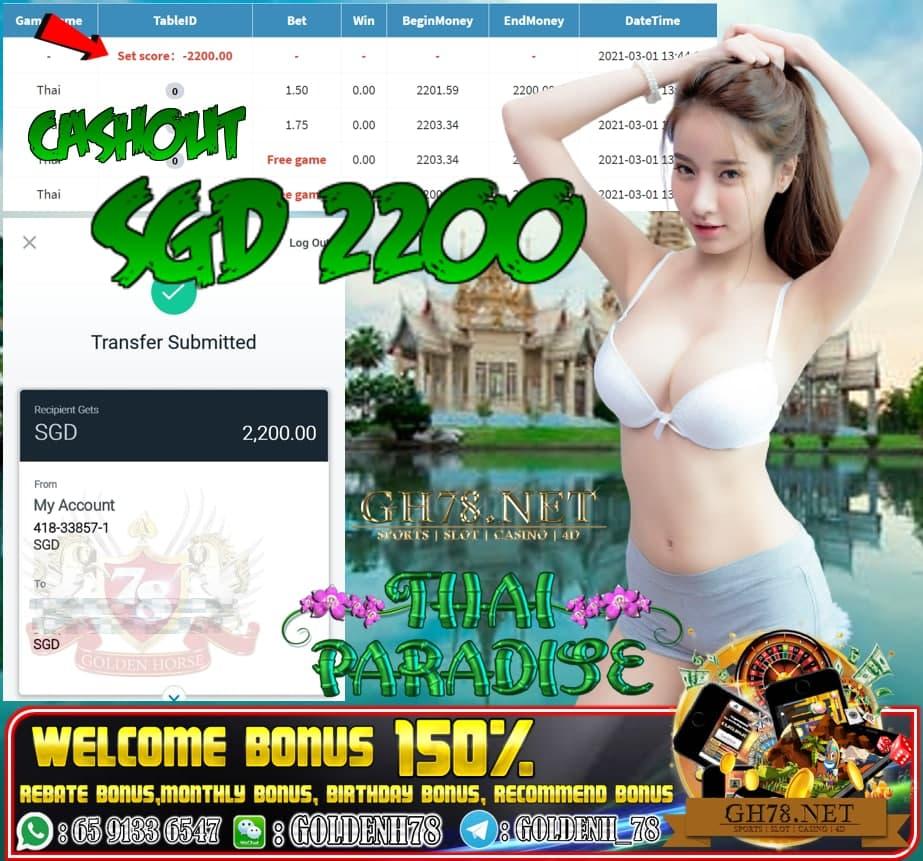MEGA888 THAI PARADISE GAME CASHOUT SGD2200
