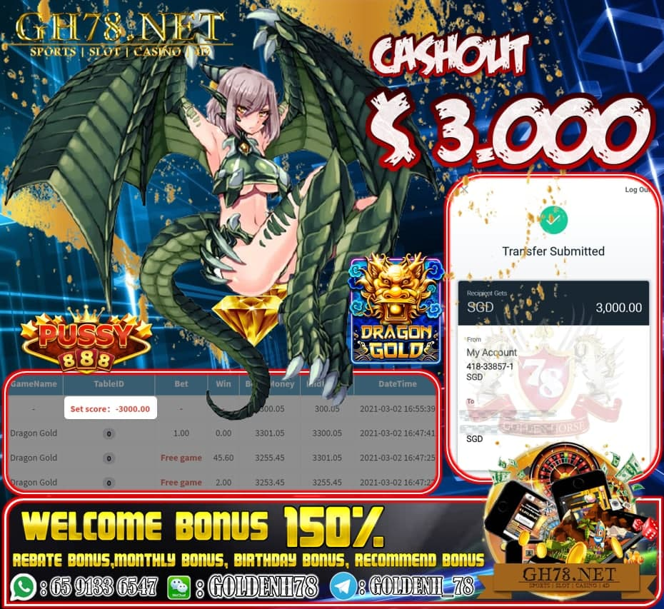 PUSSY888 DRAGON GOLD GAME CASHOUT $S3000