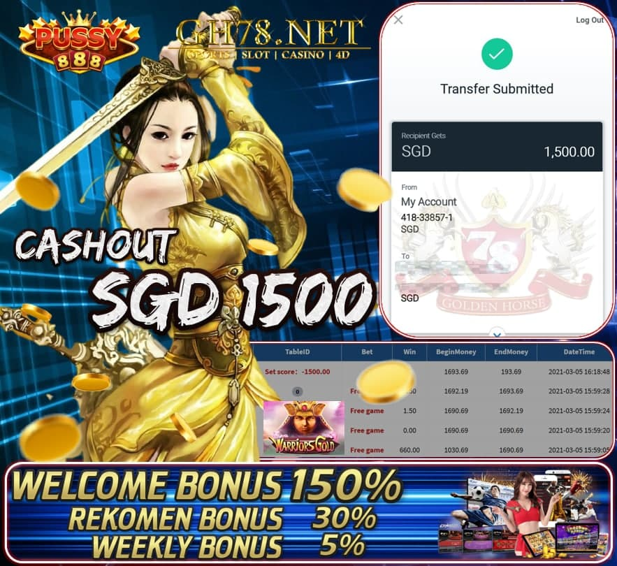 PUSSY888 WARRIOR GOLD CASHOUT $S1500