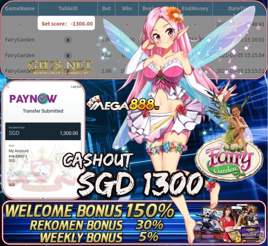 MEGA888 FAIRY GARDEN GAME CASHOUT SGD1300