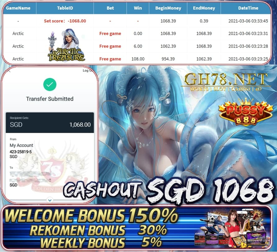 PUSSY888 ARTIC GAME CASHOUT $S1068