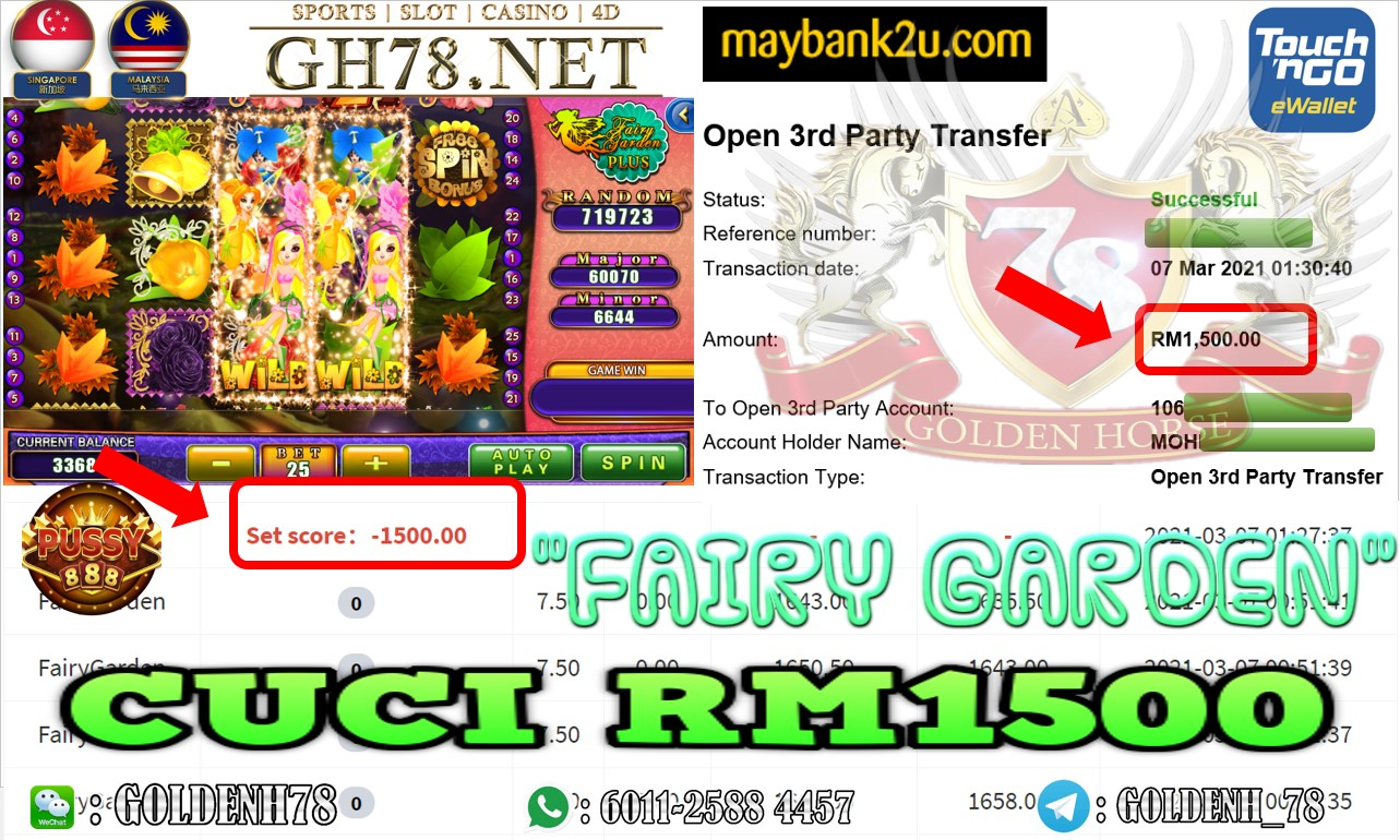 PUSSY888 FAIRY GARDEN GAME CASHOUT RM1500 JOIN NOW WITH US AT GH78.NET !!