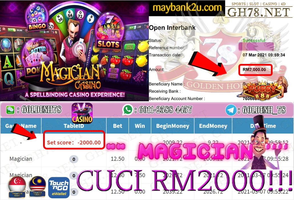 PUSSY888 MAGICIAN GAME CASHOUT RM2000 JOIN NOW WITH US AT GH78.NET !!