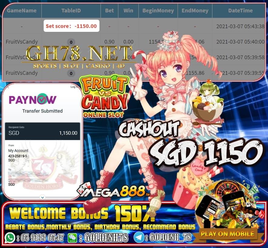 MEGA888 FRUIT VS CANDY GAME CASHOUT $S1150