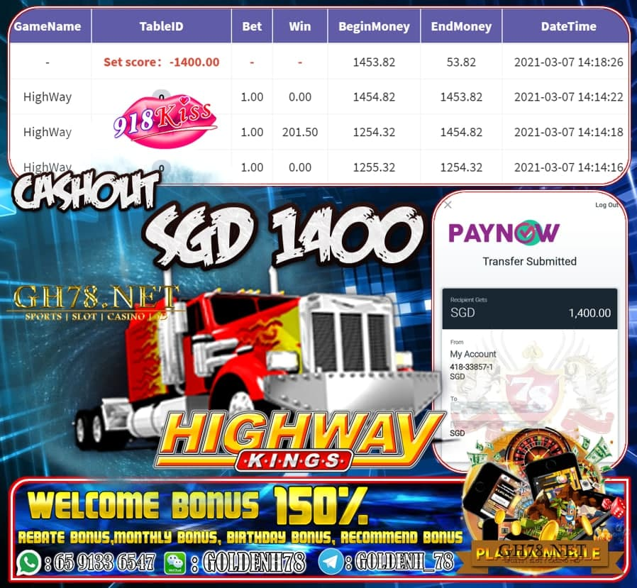 918KISS HIGHWAY KINGS GAME CASHOUT $S1400