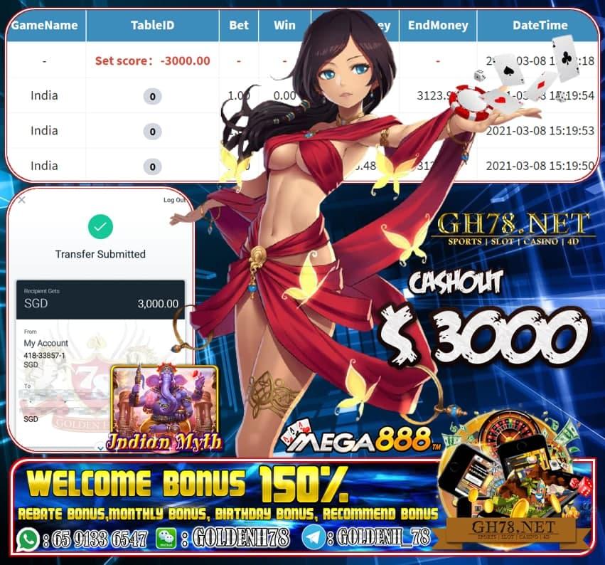 MEGA888 INDIA MYTH GAME CASHOUT $S3000