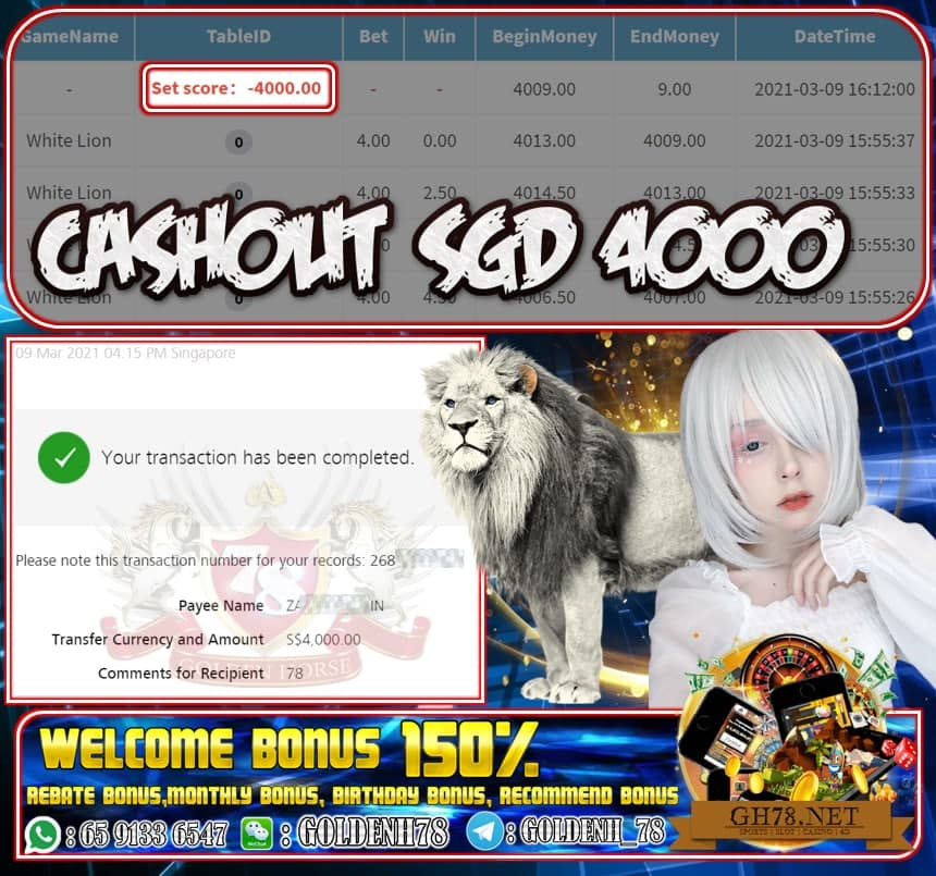 PUSSY888 WHITE LION GAME  CASHOUT SGD4000 JOIN NOW WITH US AT GH78.NET !!