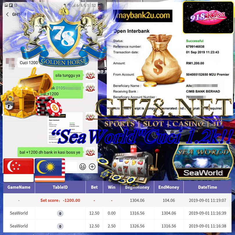 MEMBER MAIN GAME 918KISS FT.SEAWORLD MINTA OUT RM1,200