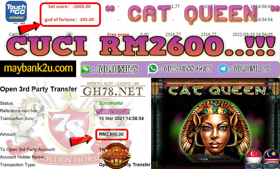 PUSSY888 CAT QUEEN GAME CUCI RM2600 JOIN NOW WITH US AT GH78.NET !!
