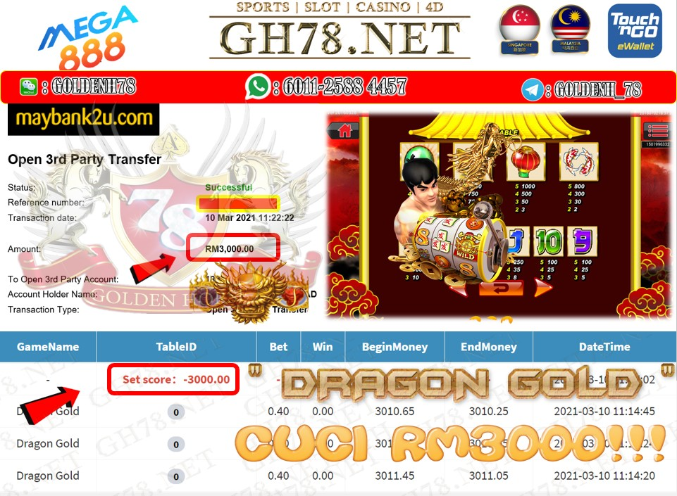 MEGA888 DRAGON GOLD GAME CUCI RM7300 JOIN NOW WITH US AT GH78.NET !!