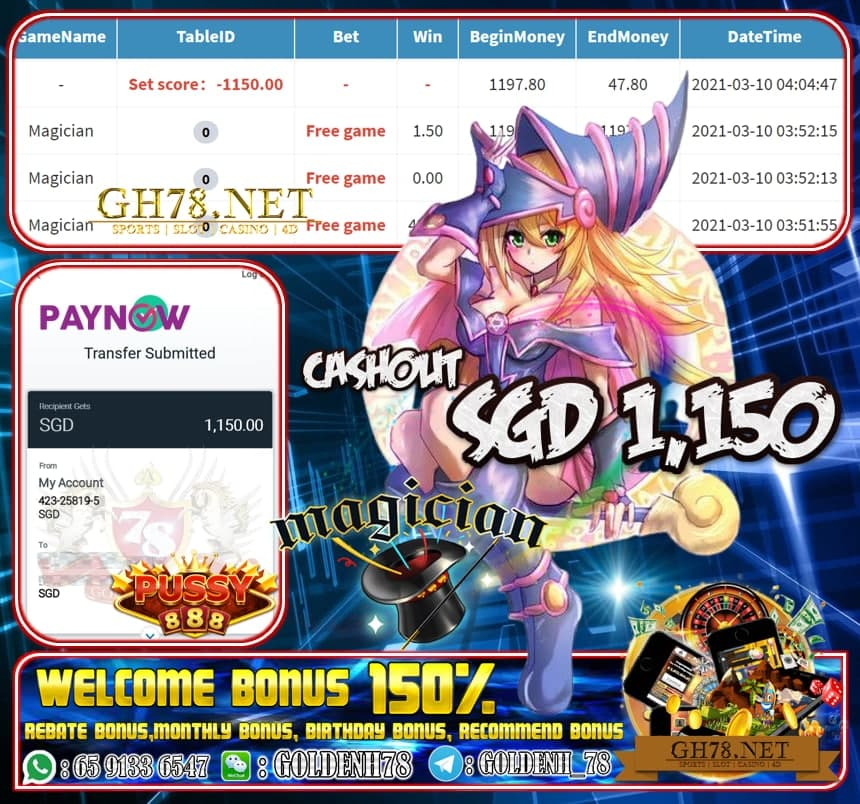 PUSSY888 MAGICIAN GAME CASHOUT SGD1150 JOIN NOW WITH US AT GH78.NET !!