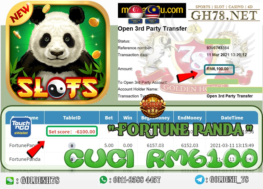 PUSSY888 FORTUNE PANDA GAME CUCI RM6100 JOIN NOW WITH US AT GH78.NET !!
