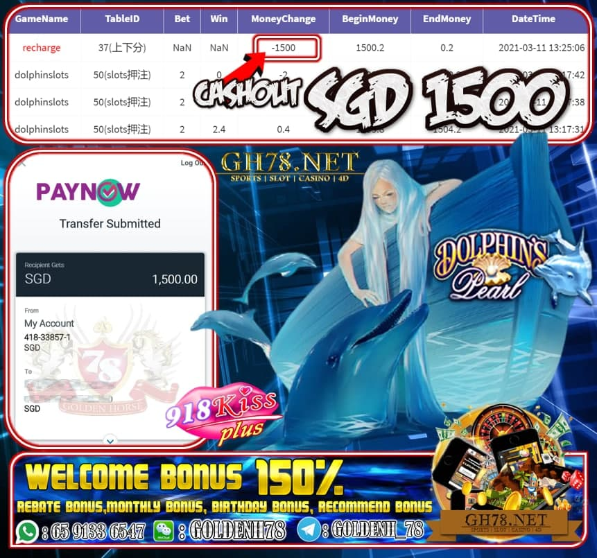 918KISS PLUS DOLPHIN GAME CASHOUT $S1500 JOIN NOW WITH US AT GH78.NET !!