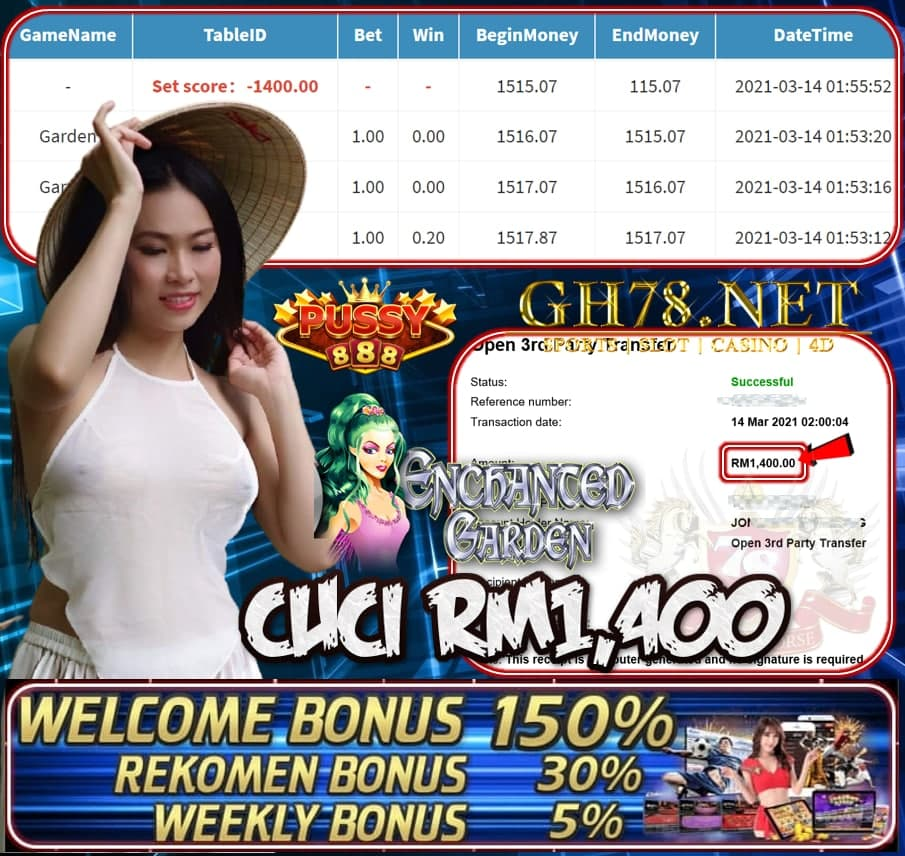 PUSSY888 GARDEN GAME CUCI RM1400 JOIN NOW WITH US AT GH78.NET !!