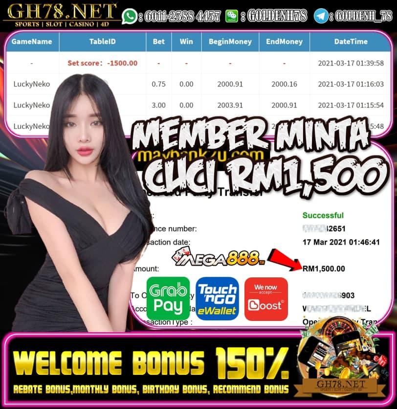 MEGA888 LUCKY NECO GAME MEMBER MINTA CUCI RM1500