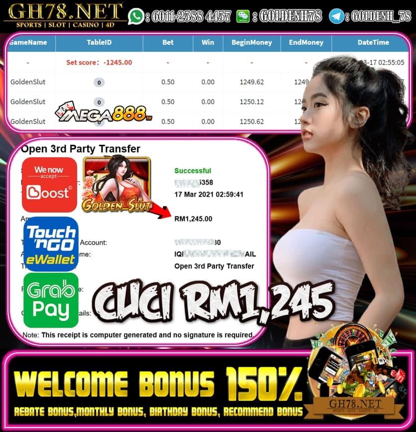 MEGA888 GOLDEN SLUT GAME MEMBER MINTA CUCI RM1245