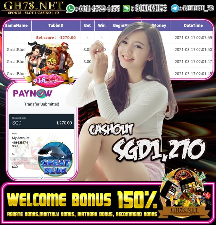 918KISS GREAT BLUE GAME OUR MEMBER GETTING CASHOUT SGD1270