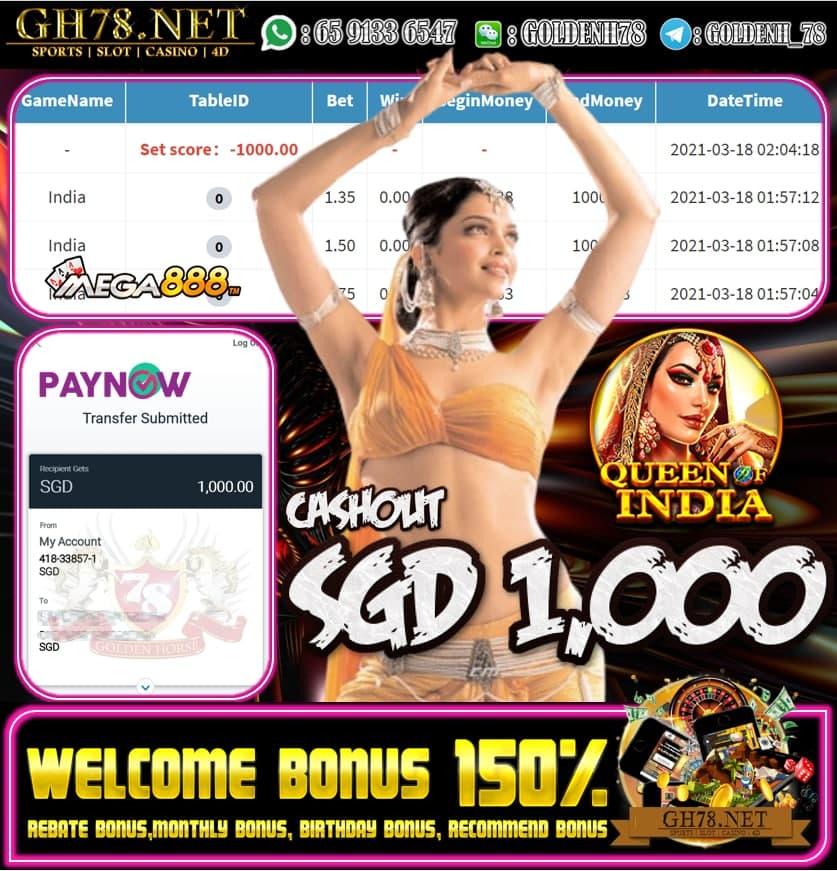 MEGA888 INDIA GAME CASHOUT S$1000