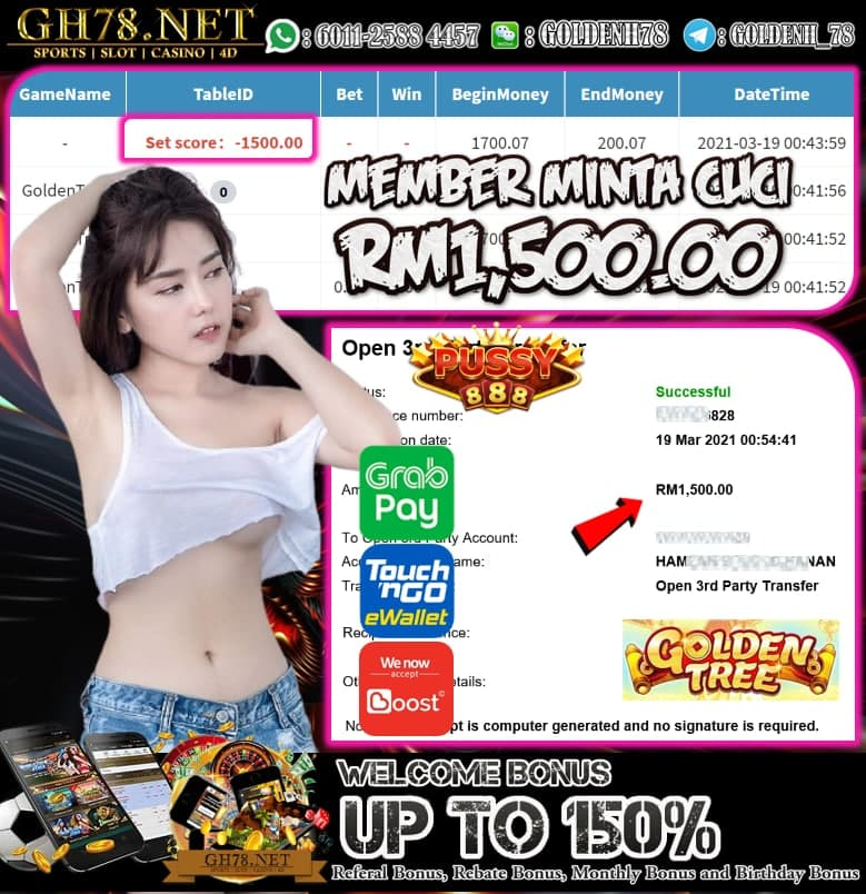 PUSSY888 GOLDEN TREE GAME MEMBER  MINTA CUCI RM1500