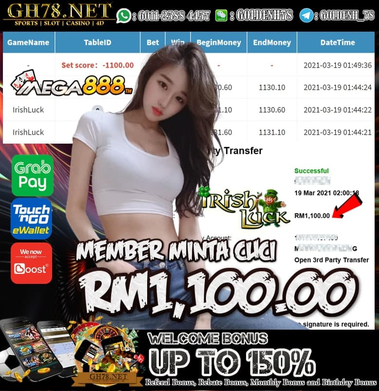 MEGA888 IRISH LUCK GAME MEMBER  MINTA CUCI RM1100