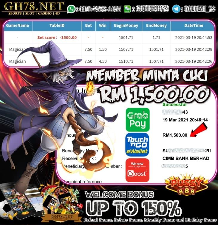 PUSSY888 MAGICIAN GAME MEMBER KAMI MINTA CUCI RM1,500.00